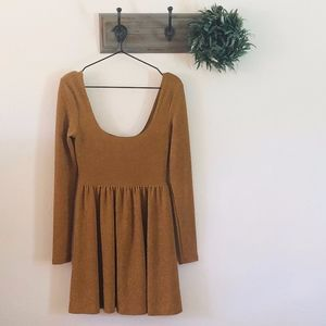 Free People Gold Glitter Skater Mini Dress S